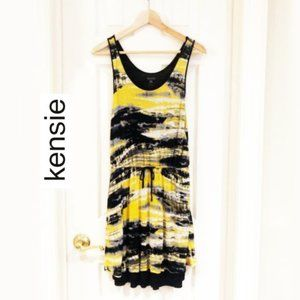 Kensie Abstract Yellow Black Dress